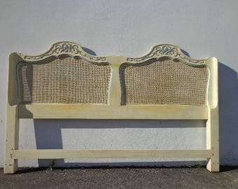 Bed Headboard French Provincial Rococo Shabby Chic Bedroom Furniture Carved Cane Neoclassical Hollywood Regency Glam CUSTOM PAINT AVAILABLE
