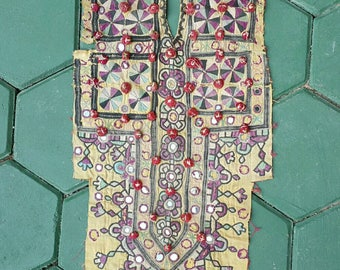 Vintage embroidered textile yoke from the Banjara of india (H262)