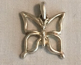 Vintage Sterling Silver Butterfly Charm Pendant