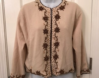 1950s beaded floral cashmere cardigan sweater