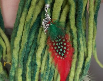 Christmas Spirit Angel charmed feather, dreadlock jewelry, feather for hair wrap - red and green hair feathers - Tibetan silver with clasp