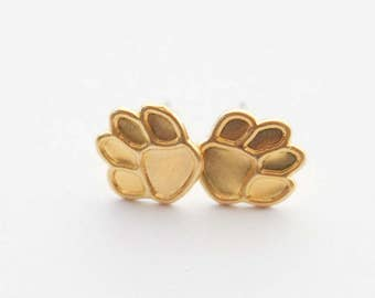 Paw Earrings, Tiny Paw Earrings, Cat Paw Stud Earrings, Gold Dog Paw Earrings, Paw Jewelry, Cat Lady Gifts, Dog Lover Gifts, Gold Paw Studs