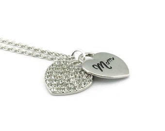 Mom Necklace, Mom Heart Necklace, Rhinestone Necklace, Heart Necklace