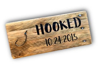 Anniversary date Anniversary gift Engagement Wedding Barnwood Signs Hooked fishing love wooden signs 4x12