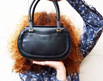 Black GUCCI handbag, vintage 50/60s leather