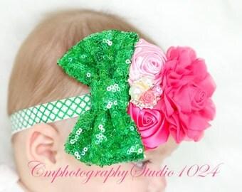 Pink Headband/Baby Headband/Baby Headbands and Bows/Infant Headbands/Baby Girl Headband/Girl Headband Baby/Couture Headband/Baby Outfit