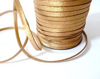 Golden Wide Faux Suede Cord _PP665/88454 _CORDS _Light Brown of 5 mm x 1.5mm Leather Sale By Yard