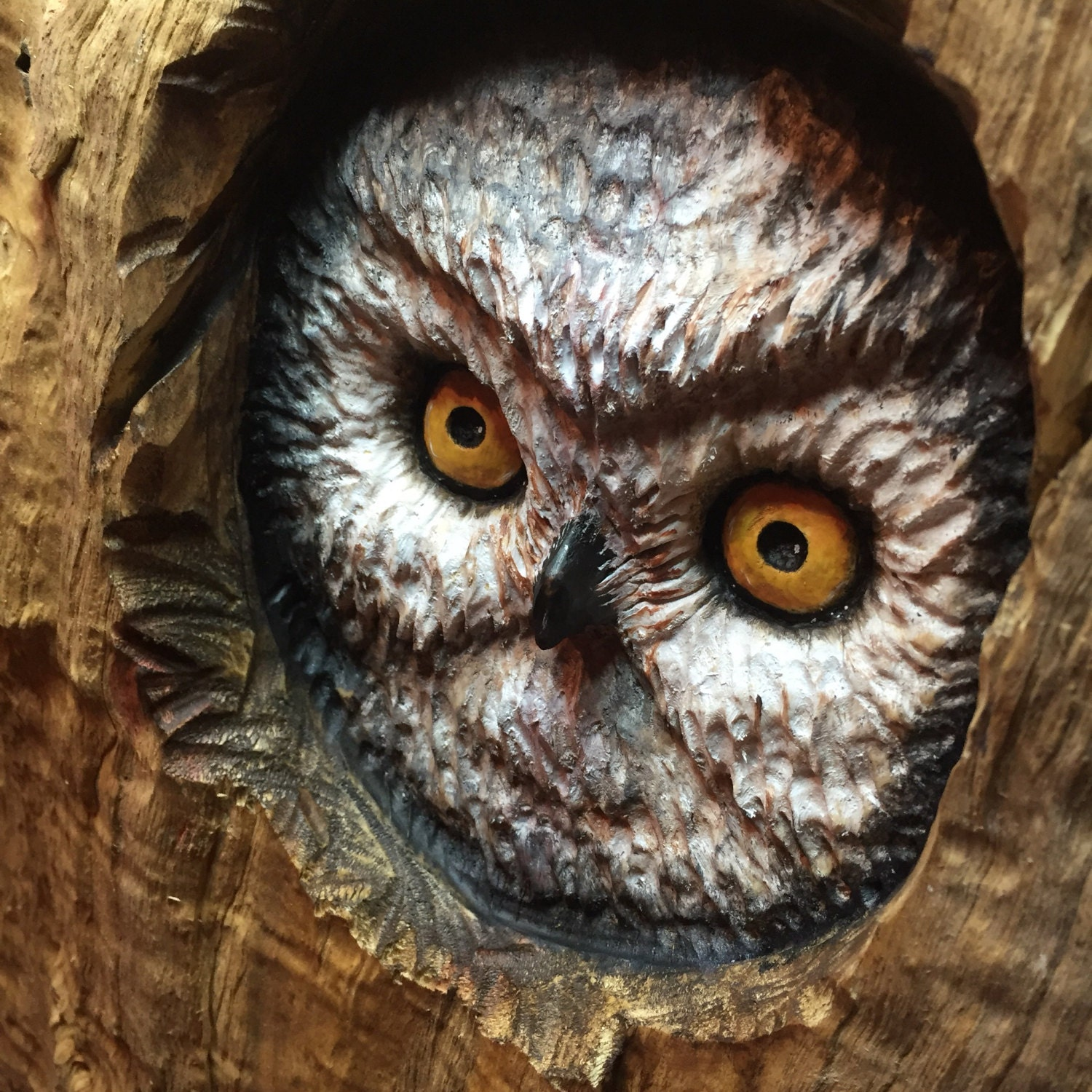 owl wood carving handmade woodworking log home decor perfect