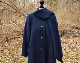 SALE!--Vintage CHRISTIAN DIOR Coat--Navy Blue Wool, c. 1980's