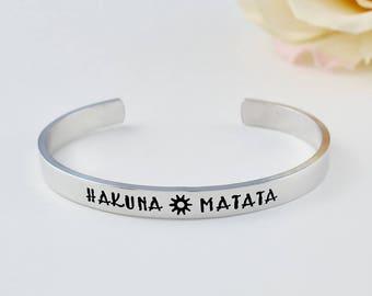 HAKUNA MATATA - Hand Stamped Aluminum Cuff Bracelet, Lion King Inspired Phrase, Personalized Inspirational Gift