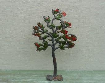 Vintage Britain's Miniature Lead Small Tree, Red Blossom, Farm Figure