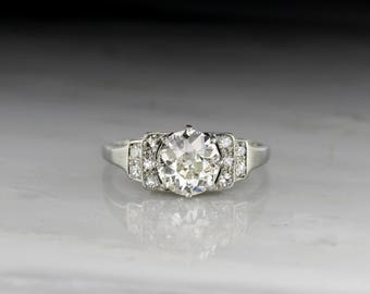 Antique Platinum Art Deco Engagement Ring with 1.35 Carat Early Old European Cut Diamond and .25ctw Diamond Accents R555