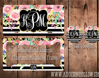 Monogram Car License Plate Tag and Frame Black white Floral Gold Frame Personalized Vanity Gift for her