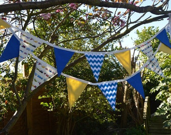 Handmade Fabric Bunting Childrens Trains/Planes Design, Blue/White Chevron, Yellow Dots 16 Double-Sided Flags for Home, Parties and more!