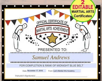 karate certificates templates free - belt template etsy