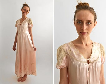 30's Pink Silk Nightgown with Lace, 1930 Bridal Long Silk Dress, Bridesmaids Dress, Pastel Pink Evening Gown / Small to Medium