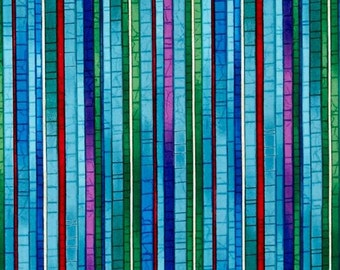 Stained Glass by the Yard, Quilt, Cotton, Mosaic, Stripe, Art, Bamboo, Novelty, Blue, Red, Small Print, Green, Purple, Decor