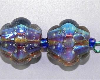 Handmade Lampwork Glass Flower beads Earring Pair in Lavender Silver Glass SRA