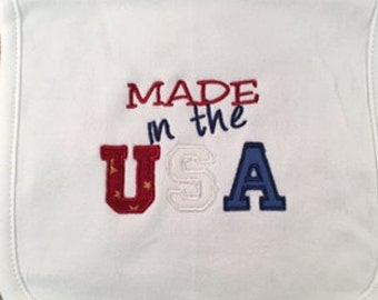 Ready to Ship - PATRIOTIC BABY BIB - New Baby, Baby Shower, Personalized Bib, 4th of July, Newborn Gift, Appliqued Baby Bib