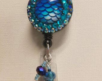 Mermaid retractable Badge Reel, dragon scale, double layer rhinestones, fish scales, mermaid tail,student id, work id, medical id