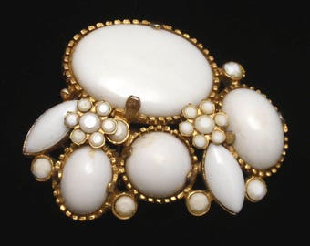 Vintage Brooch Pin with Milk White Stones