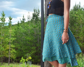 Two Skirts In One, Silk Wrap Skirt, Reversible Skirt, Handmade Midi Skirt, Indian Ethnic Wrap, Free Size Wrap, Long Skirt