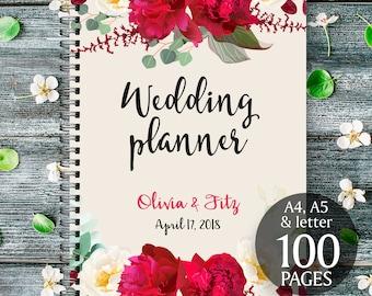 Boho wedding binder, Printable wedding planner, Burgundy floral wedding binder, DIY wedding binder, Wedding checklist,  Wedding to do list