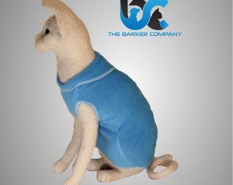 Sphynx Cat Clothing  -Blue PJ's comfort fit in soft hugable fleece