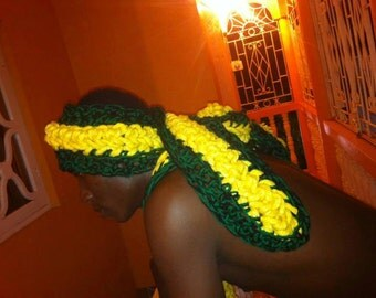 Based in NYC - The Hottest Head Wraps Ever - Get your Custom Made Handmade Crocheted Jamaican Head Scarf - Great to hold down Heavy Hair