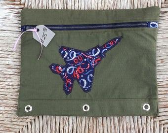 Kincaid Flightsuit Pencil Bag for Binder- Patriotic Ribbons Print