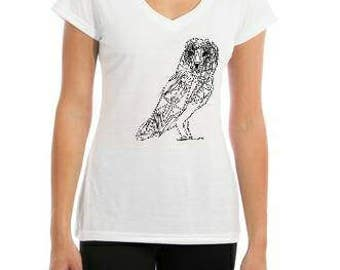 Owl T Shirt-- Owl Lover Gift- Ladies T Shirt- Barn Owl- Bird Lover Gift- Geometric Owl T Shirt- Unique Women's T Shirt- Artwork T-