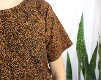 Flax/Rayon Blend Safari Print Shirt- Orange Rust and Black Pattern- Fashion Top- Dress shirt- Size Small