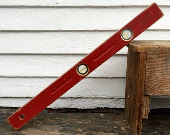 """red wood level ~ 28"""" wooden level ~ 2 bubble level intact ~ Port Austin Level & Tool Mfg Co in Port Austin, Michigan ~ made in the USA"""