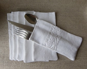 6 flatware,silverware,holder,case, bag, wallet, cutlery, table linen, chic, dinner, white, french antique linen fabric, vintage cotton lace