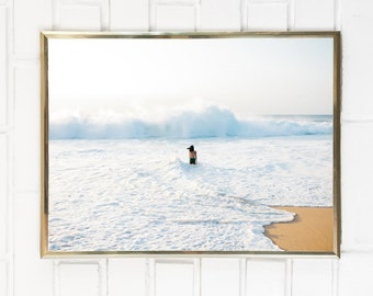 Winter Waves in Hawaii / Big Wave Photography / Surf Photography / Oahu Island Beach Ocean White Wash Decor Photo Print Water Minimal Water