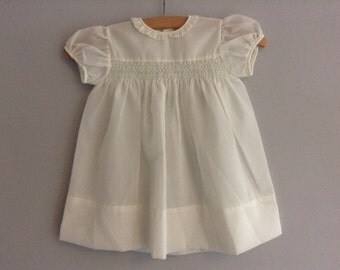 Vintage Creamy White Sheer Smocked Child / Baby Dress