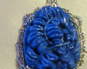 Filigree Blue Carved stone necklace