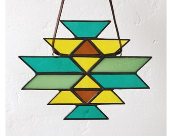 Aztec Native American Textile Stained Glass Sun Catcher Window Hanging