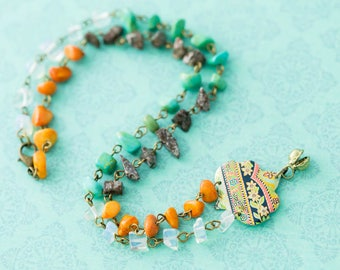 Bohemian Gypsy Bell Vintage Tin Necklace with Orange, Turquoise, Clear, and Brown Chip Beads, Vintage Tin Necklace, Clapper Bell