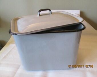 Vintage Refrigerator Box, Kitchen Storage Container, Enamelware Container, Kitchen Decor,