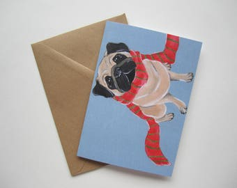 Fawn Pug Winter Holiday Card, Pug in a Scarf Greeting Card, Blank Holiday Card by Amber Maki