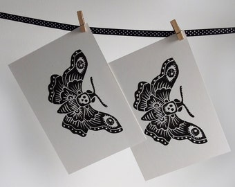 A4 Lino print - Death's Head Moth, black and white, insect art print