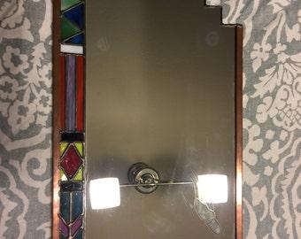 Santa Fe Handcrafted Artisan Stained Glass Art Avant Garde Bohemian Rocker Mirror
