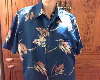 Retro Blue Floral Hawaiian Vintage Tori Richard Boyfriends Men Aloha Island Resort Shirt