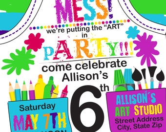 Dress for a Mess Paint Party Apron Invite- CUSTOMIZED DIGITAL FILE