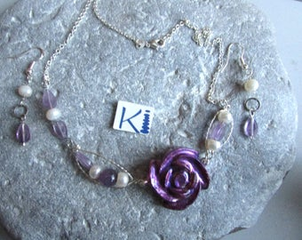 Orgone  Resin Amethyst Pearl  Rose Necklace or Earrings Asymmetrical - Sterling Silver