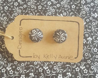 Button Earrings - Black and white Floral, 1/2 inch