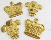 """4 Crown Brass Stampings 4 Crown Charms  Mixed Media, Assemblage. Embellishments 1 1/4"""" The Tair Pluen Crowns Fleur De Lis"""