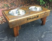 "Reclaimed rustic pallet furniture dog bowl stand pet feeding station with 2 brand new stainless steel bowls. 21"" L X 11"" W X 12"" T"