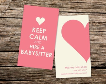 NannyBabysitting Business Card KEEP CALM and hire a NANNY